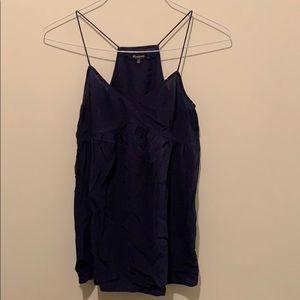 euc • madewell • navy blue silk top